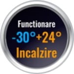 Functioneaza in modul incalzire intre minus 30 si plus 24